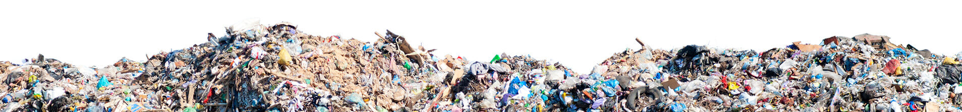 Trash pile at landfill with white background